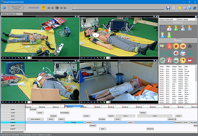 Mangold video recording for medical simulation